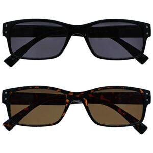 The Reading Glasses Lunettes de Lecture Pack 2 Hommes Grand Noir Marron Écaille Lecteurs Soleil UV400 Charnières Ressort SS11-12 +2,50
