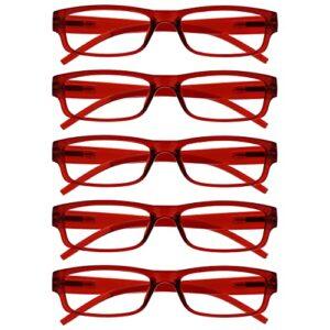 The Reading Glasses Lunettes de Lecture Rouge Valeur Set de 5 Léger Hommes Femmes RRRRR32-Z +3,50