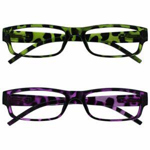 The Reading Glasses Lunettes de Lecture Vert/Violet Écaille Valeur Pack 2 Femmes Dames UVR2Pk009_009Pp +3,00
