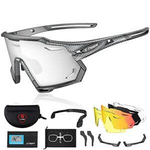 X-TIGER Lunettes de Cyclisme Polarisées Pour Hommes, Lunettes de VTT avec 3 Lentilles Interchangeables Anti-UV400, Lunettes de cyclisme pour le vélo, la course à pied, la conduite, la pêche (xts11-5)