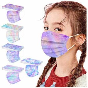 YHIIen 50 Pièces Enfant Masque Tissu Non-tissé 3 Plis Protection Faciale Jetable Antipoussière Doux Respirant Haute Qualité Plein Air Hommes Et Femmes Mignonne Impression Bandeaux