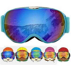 Bcofoa Lunettes de Ski Masque de Snowboard Masque de Ski pour Enfants, Lunettes de Snowboard pour garçons Filles motoneige Ski sur Lunettes Lunettes de Neige Anti-UV400, Anti-Buée, Coupe-Vent