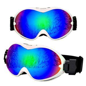 Bcofoa Lunettes de Ski Unisexe Lunettes de Snowboard Hommes et Femmes Alpinisme en Plein air myopie Lunettes de Neige pour Enfants équipement de Protection UV lentilles Anti-buée Double Couche