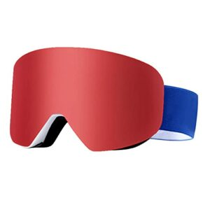 Bcofoa Lunettes de Ski,Snowboard Lunettes,Masques de Snowboard,Frameless,Lens Anti-poussière,Lentille magnétique,pour Hommes &Femme Garçons et Filles (Color : Red)