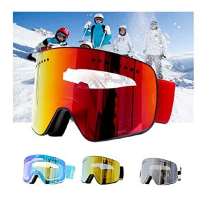 Bcofoa Masque de Ski -Lunettes de Ski Frameless,Lentille magnétique100% Protection UV400 Masques de Snowboard pour Hommes&Femme,Garçons et Filles (Color : Silver)