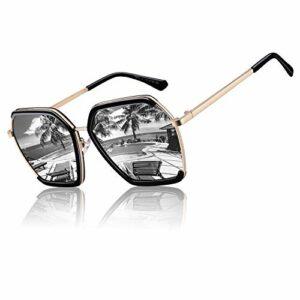 CGID Lunettes de soleil polarisées carrées surdimensionnées carrées pour femmes Lunettes de vue rétro pour femmes 100% UV400 Nuances Noir Cadre Argent Miroir Lentille M51