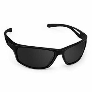 CHEREEKI Lunettes de Soleil, Polarisées Lunettes De Soleil avec 100% Protection UV400 et Monture incassable TR90 pour la pêche au Golf en Cours d'exécution à vélo (Gris)