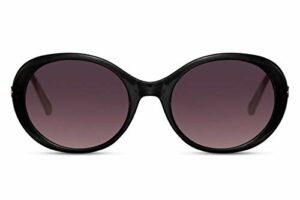 CWI Lunettes de soleil ovales pour femme Cat. 3 Noir mat/noir