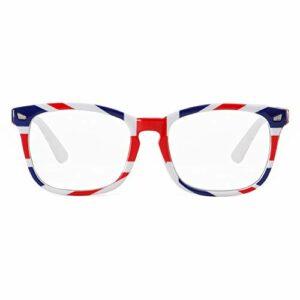 Cyxus Lunettes Anti Lumière Bleue [Lunettes anti-fatigue oculaire],Lunettes de lecture rétro à verres transparents, hommes/femmes (Noir/Size M) (UK Flag)