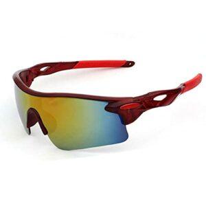 Gosunfly Lunettes de soleil pour hommes lunettes d'équitation vélo lunettes de sport en plein air lunettes de soleil-cadre rouge iris