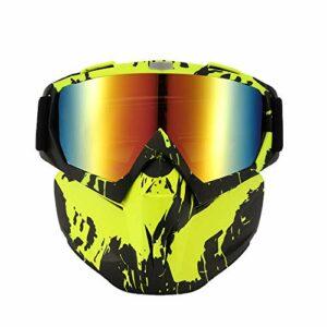 Jabroyee Sonnette de vélo, scooter, masque de ski, lunettes de ski rétro, masque amovible avec filtre de bouche