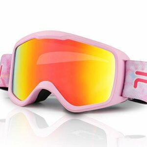 JTENG Lunettes de Ski pour Enfants, Lunettes de Snowboard Double Objectif OTG UV400 Anti-buée pour Ski et Alpinisme, Rose