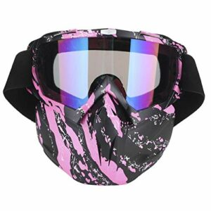 Lunettes de Moto Hommes Femmes Lunettes de motoneige Ski Snowboard Hiver Neige Coupe-Vent Masque extérieur Lunettes de Soleil (Rose)