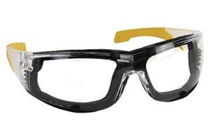 Lunettes de sécurité rembourrées avec mousse amovible, couleur noir et jaune, très confortables et sûres.