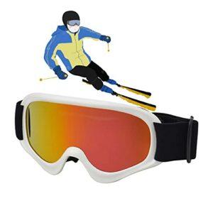 Lunettes de ski, lunettes de neige, lunettes de snowboard, Masques de Snowboard ,Masque de Ski,lunettes de moto de neige pour enfants, garçons et filles, protection UV/anti-buée ( Color : White )