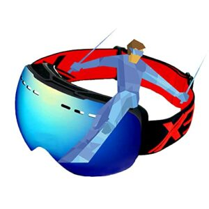 Lunettes de ski unisexes lunettes de snowboard lunettes de neige Masques de Snowboard Masque de Ski pour hommes femmes lentilles sphériques à double couche sans cadre lentille détachable protection UV