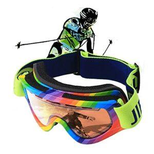 Lunettes de Ski-Masque de Ski Protection UV400 Masques de Snowboard pour Hommes&Femme,Garçons et Filles,Lentille antibuée double,Convient à ceux qui portent des lunettes de myopie ( Color : Green )