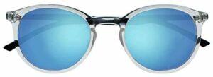 Opulize Met Grand Confortable Clair Noir Armes Objectif Bleu Réfléchissant Hommes Femmes Lecteurs Soleil UV400 S60-C +0,00