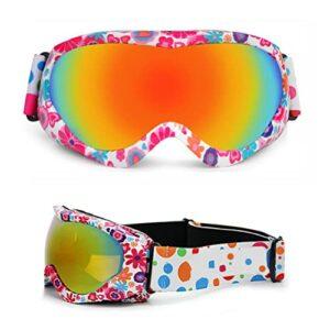 POXIAO Lunettes de Ski, Lunettes de Ski pour Enfants sur Lunettes Lunettes de Snowboard colorées Lunettes de Protection UV Anti-buée à Double lentille pour garçons Filles
