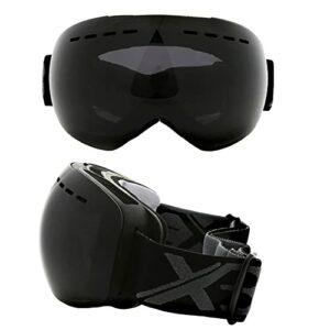 Protection Lunettes Snowboard Lunettes Masques de Neige sur-Lunettes Masques de Ski/Snowboard pour Hommes, Femmes et Jeunes – Protection UV à Double Couche (Color : Black)