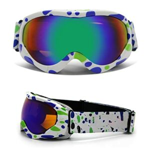 RUSTOO Lunettes de ski pour enfants, lunettes de snowboard, lunettes de ski avec protection UV400, double lentille, anti-buée, anti-UV, pour enfants de 8 à 15 ans