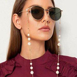 Sethexy Or Femmes Chaîne de lunettes Mode Perles Chaîne de masque facial perle Femmes Chaîne de lunettes de soleil Accessoires pour Lunettes et Masques faciaux (B)