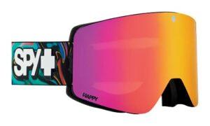SPY OPTIC Marauder Lunettes de ski et de snowboard Couleur du cadre : PSYCHADELIC – Couleur des verres : bronze avec miroir Spectra rose + Happy LL rouge avec miroir Spectra argenté