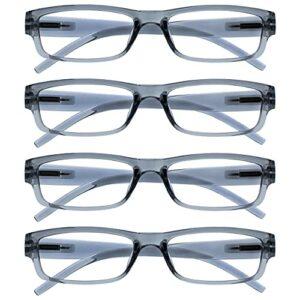 The Reading Glasses Lunettes de Lecture Gris Léger Confortable Lecteurs Valeur Set de 4 Hommes Femmes RRRR32-7 Puissance Optique +1,50