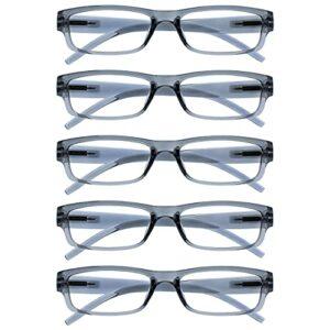 The Reading Glasses Lunettes de Lecture Gris Valeur Set de 5 Léger Hommes Femmes RRRRR32-7 +3,00