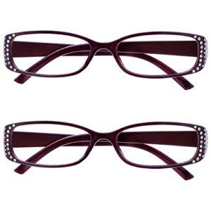 The Reading Glasses Lunettes de Lecture Noir/Violet Style Diamonte Lecteurs Valeur Set de 2 Designer Style Femmes Dames RR93-5 +2,50