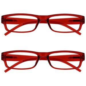 The Reading Glasses Lunettes de Lecture Rouge Léger Confortable Lecteurs Valeur Set de 2 Hommes Femmes RR32-Z +1,50