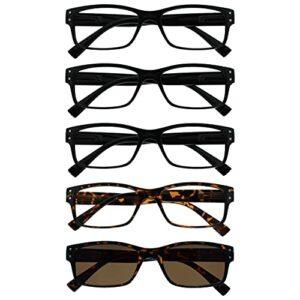 The Reading Glasses Lunettes de Lecture Set de 5 Hommes Noir Brun Grand avec Lecteur Soleil Charnières Ressort RRRRS11-11122 +2,50
