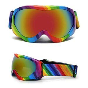 Urisgo Kit de Lunettes de Ski, Lunettes de Snowboard Masque Lunettes de UV Protection Motoneige Colorées Double Lentille Anti-buée Coupe-Vent pour Garçons Filles