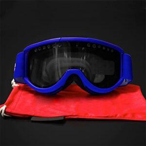 XJST Lunettes De Ski pour Hommes Femmes, Goggle De Snowboard avec Anti-Brouillard Double Objectif, Bretelles Réglables, Lunettes De Neige, pour Les Sports d'hiver, Ski, Patinage,Bleu