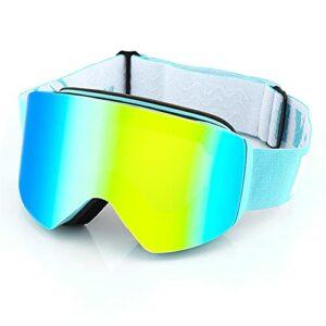 XJST Snowboard Goggle avec antibrouillard à Double Objectif, Lunettes de Ski interchangeables magnétiques, pour Hommes Femmes Jeunesse, Casque Compatible, Anti-éblouissement, résistant aux Chocs,D