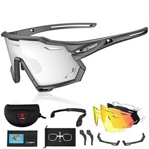 X-TIGER Lunettes de Cyclisme Polarisées Pour Hommes, Lunettes de VTT avec 3 Lentilles Interchangeables Anti-UV400, Lunettes de cyclisme pour le vélo, la course à pied, la conduite, la pêche (xts01-5)